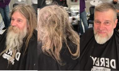 Người đàn ông vô gia cư 'lột xác' sau khi cắt tóc