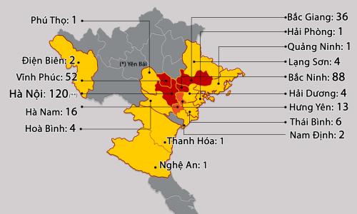 Bản đồ lây nhiễm cộng đồng tại 25 tỉnh, thành Việt Nam, tính đến sáng 10/5