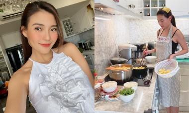 Thúy Diễm nấu canh atiso hầm xương giải nhiệt, bổ dưỡng