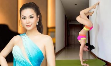 Á hậu Diễm Trang khởi động ngày mới bằng bài yoga 'chào mặt trời'
