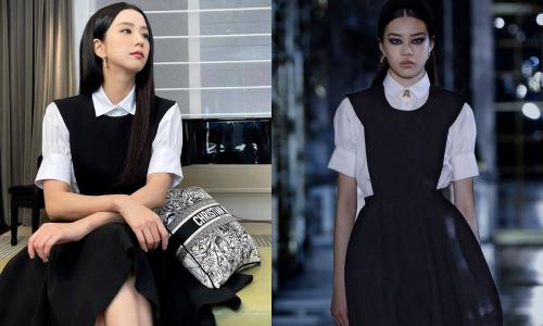 Diện váy Dior lấy cảm hứng từ chính mình dự show, Ji Soo được khen như búp bê