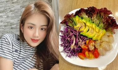 Á khôi Minh Anh trộn salad nhiệt đới để dưỡng nhan sắc