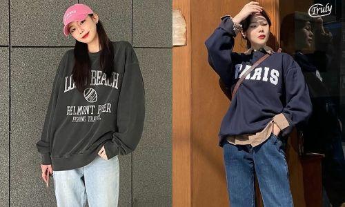 Học cách diện áo nỉ 'xịn xò' từ street style của gái Hàn